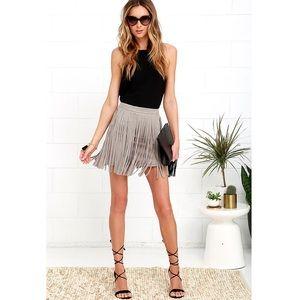 [Lulu's BB Dakota] Taupe Suede Fringe Mini Skirt